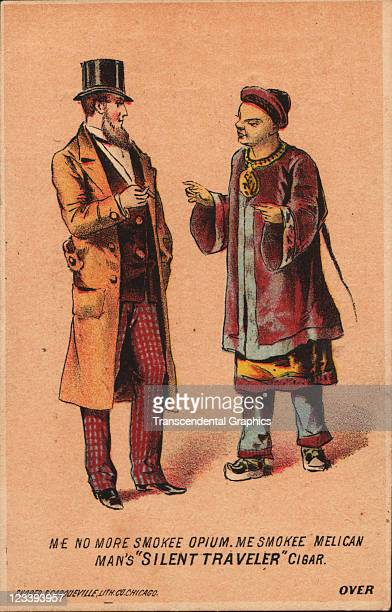 Shober Carqueville lithographers use opium reference to help sell tobacco products on this trade card from 1880s printed in Chicago Illinois