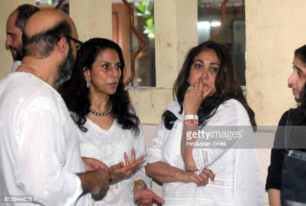Shobha deTina Ambani and Mickey Contractor during Gautam Rajadhyaksha funeral at Chandanwadi crematorium reseident at Hughes Road after he passes...