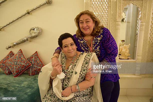 Shobha Kapoor and Rima Jain at the celebratory Ganesh Chaturthi lunch hosted by the former at her residence Krishna Bungalow on September 20 2015 in...