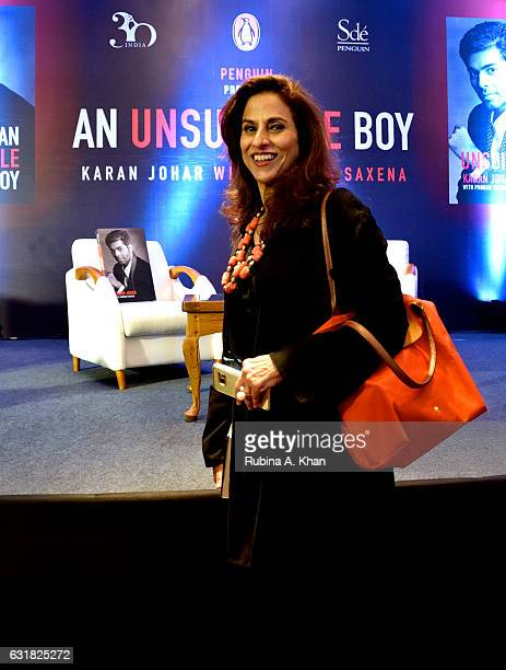 Shobhaa De at the launch of Karan Johar's new book 'An Unsuitable Boy' published by Penguin India and written by the filmmaker and Poonam Saxena at...