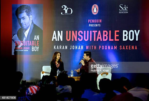 Shobhaa De in conversation with Karan Johar at the launch of his book 'An Unsuitable Boy' published by Penguin India and written by the filmmaker and...