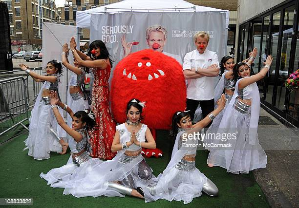 Shobna Gulati and Gordon Ramsey at one day 'Seriously Good' curry popup stall in aid of Comic Relief at Ely's Yard on February 4 2011 in London...