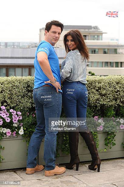 Shobna Gulati and John Barrowman winners of Wizard Jeans Rear Of The Year Award 2012 attend a photocall at The Dorchester on June 27 2012 in London...