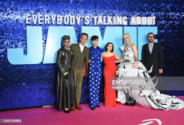 """Shobna Gulati, Richard E Grant, Max Harwood, Lauren Patel, Jamie Campbell and Ralph Ineson attend the """"Everybody's Talking About Jamie"""" World..."""