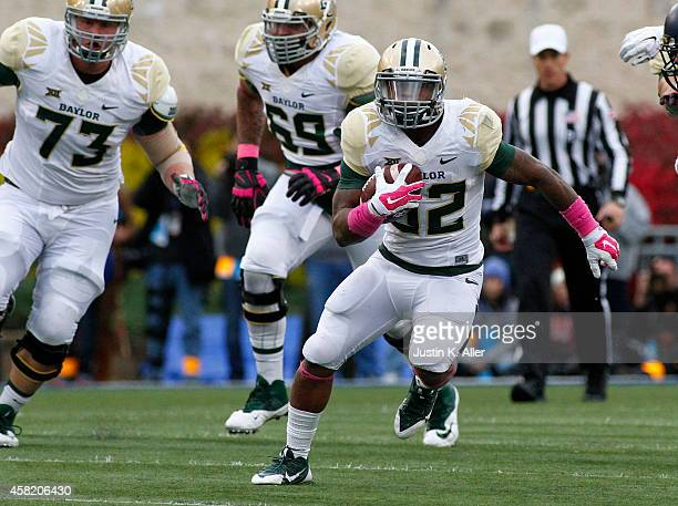 Shock Linwood of the Baylor Bears rushes during the game against the West Virginia Mountaineers on October 18 2014 at Mountaineer Field in Morgantown...