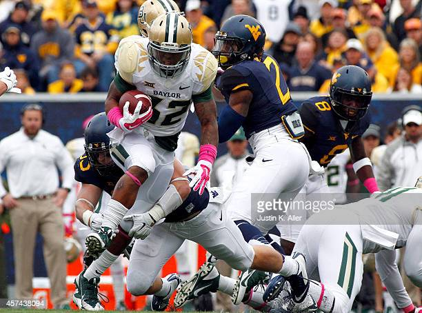 Shock Linwood of the Baylor Bears rushes in the first half against the West Virginia Mountaineers during the game on October 18 2014 at Mountaineer...
