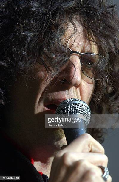 Shock radio personality Howard Stern speaks to his fans as thousands packed a midtown street for his final broadcast on FM radio on Friday December...