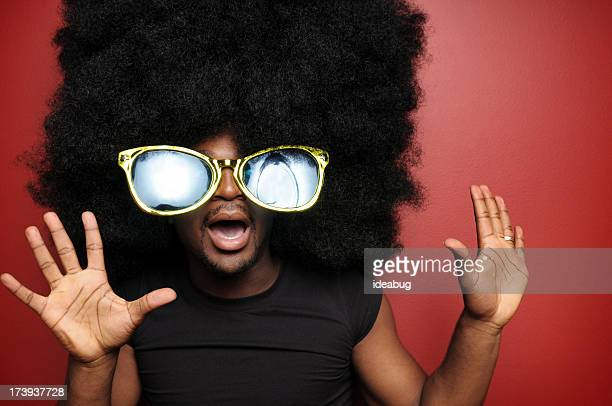 Shocked Afro Man with Sunglasses