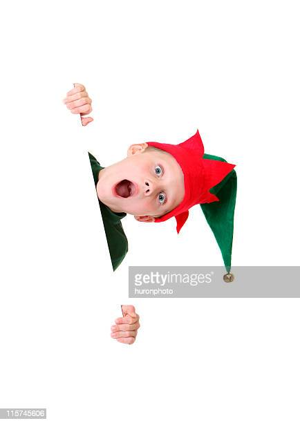 shocked elf with white sign