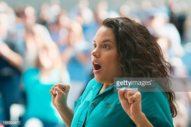 shocked female spectator - surprise stock pictures, royalty-free photos & images