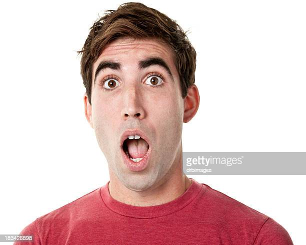 shocked gasping young man - mouth open stock pictures, royalty-free photos & images