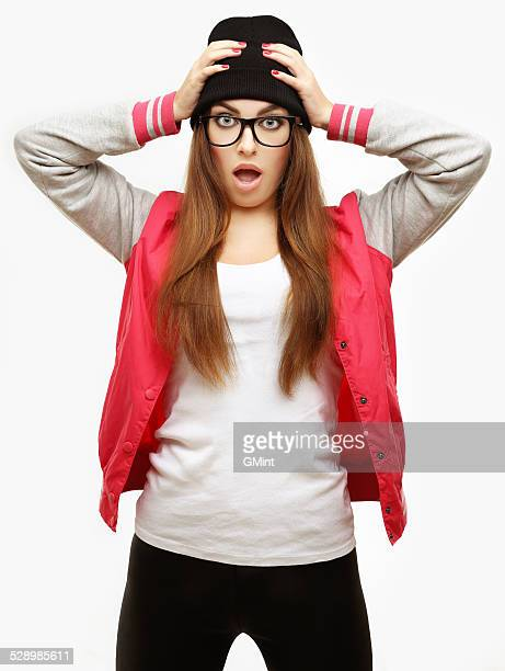 shocked  girl - ugly girl stock photos and pictures