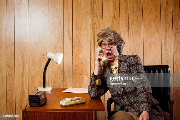 Shocked Retro Businessman On The Phone