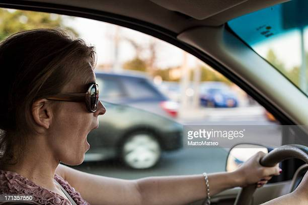 Shocked Woman before a crash