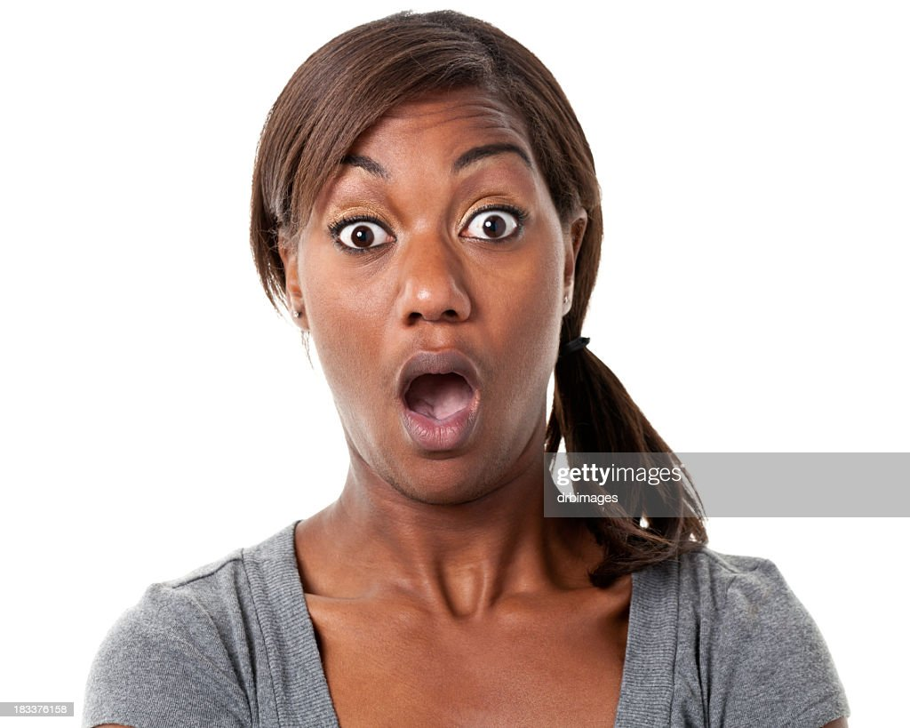 Shocked Young Woman Gasps : Stock Photo