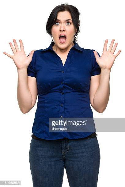 Shocked Young Woman With Hands Up