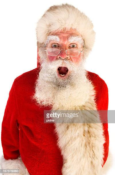shocking santa (on white) - santa face stockfoto's en -beelden