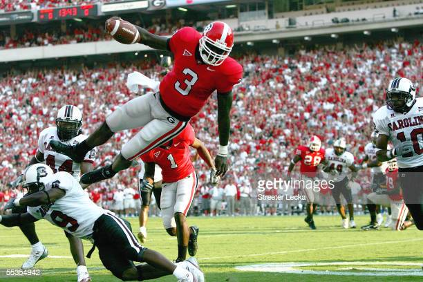 Shockley of the Georgia Bulldogs dives into the endzone for a touchdown during their game against the South Carolina Gamecocks at Sanford Stadium on...