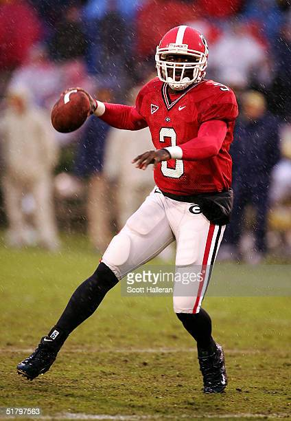 Shockley, quarterback of the Georgia Bulldogs looks upfield to pass during their game against Georgia Tech on November 27, 2004 at Sanford Stadium in...