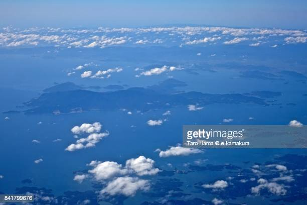 Shodo Island in Seto Inland Sea in Kagawa Prefecture day time aerial view from airplane