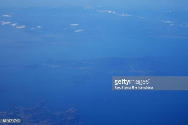 Shodoshima island in Seto Inland Sea, daytime aerial view from airplane