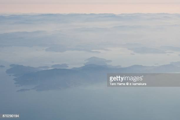 Shodoshima Island in Seto Inland Sea in Japan daytime aerial view from airplane