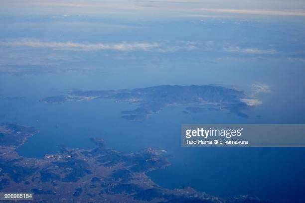 Shodoshima Island in Seto Inland Sea in Shodoshima town in Kagawa prefecture in Japan daytime aerial view from airplane