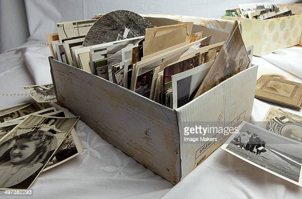 Shoe box of old family photographs