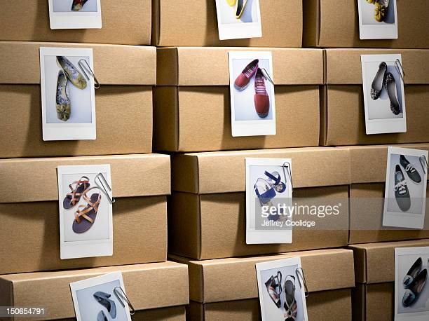 Shoe Boxes with Photos Close-up