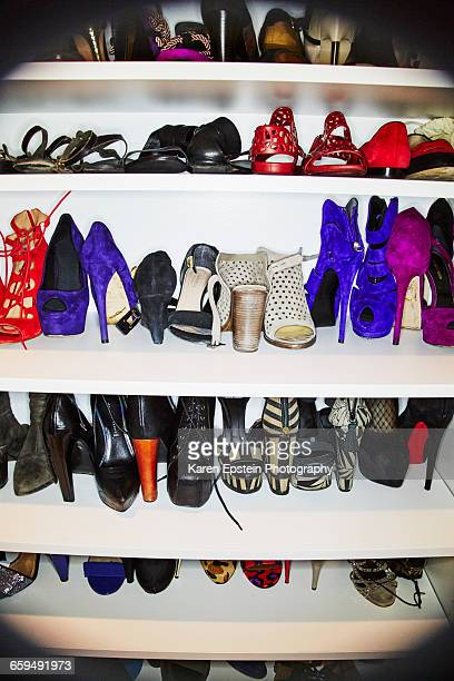 shoe closet - walk in closet stock photos and pictures
