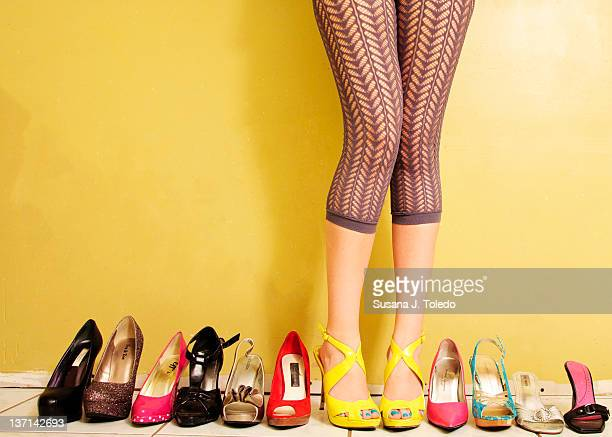 shoe collection - high heels stock pictures, royalty-free photos & images