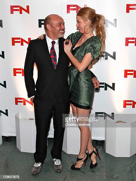 Shoe designer Christian Louboutin and actress Blake Lively attends the 24th Annual Footwear News Achievement Awards at The Museum of Modern Art on...