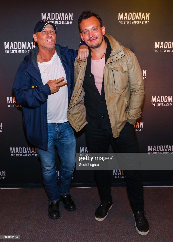 Shoe designer Steve Madden (L) and director Ben Patterson pose on red  carpet during