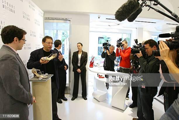 Shoe designer Stuart Weitzman and jeweler Greg Kwiat speak to members of the press at the Stuart Weitzman and Greg Kwiat press conference announcing...
