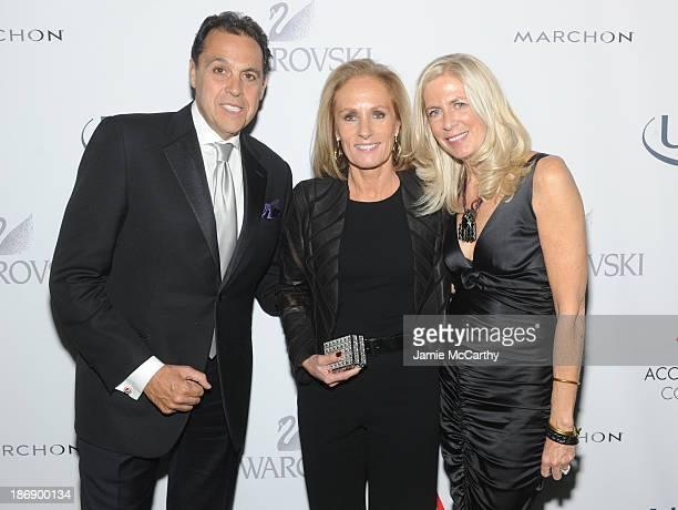 276b7f22d630 Shoe designers Sam Edelman and Libby Edelman pose with President CEO Brown  Shoe Company Diane Sullivan.