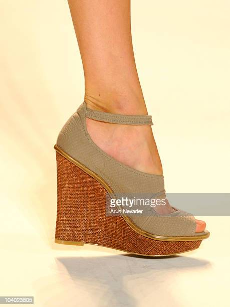 Shoe detail as a model walks the runway during Payless at Lela Rose Spring 2011 during MercedesBenz Fashion Week Spring 2011 in the The Studio at...
