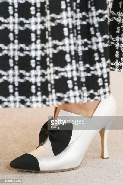 Shoe detail at the Chanel show during Paris Haute Couture Fall/Winter 2019/2020 on July 2, 2019 in Paris, France.
