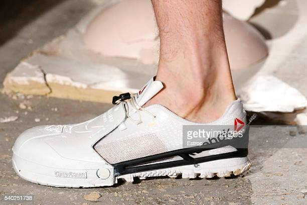 Shoe detail at the Cottweiler designed by Ben Cottrell and Matthew Dainty show during The London Collections Men SS17 at on June 11, 2016 in London,...