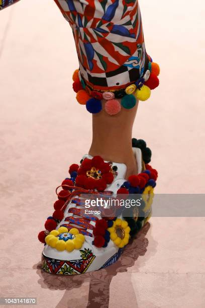 Shoe detail at the Dolce Gabbana show during Milan Fashion Week Spring/Summer 2019 on September 23 2018 in Milan Italy
