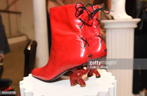 Shoe detail at the 'Dorateymur' presentation during the London Fashion Week February 2017 collections on February 21 2017 in London England