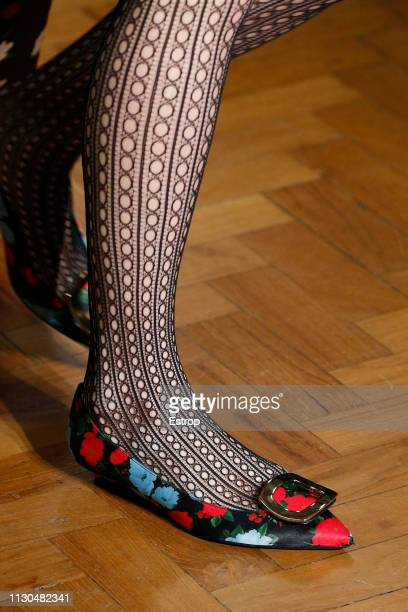 Shoe detail at the Erdem show during London Fashion Week February 2019 at the National Portrait Gallery on February 18 2019 in London England