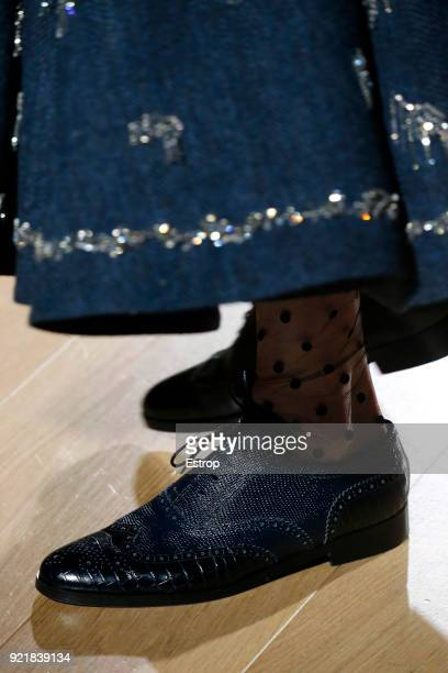 Shoe detail at the ERDEM show during London Fashion Week February 2018 on February 19 2018 in London England