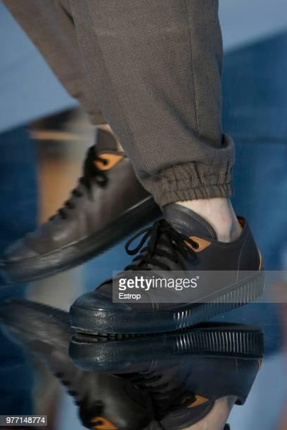 Shoe detail at the Ermenegildo Zegna show during Milan Men's Fashion Week Spring/Summer 2019 on June 15 2018 in Milan Italy