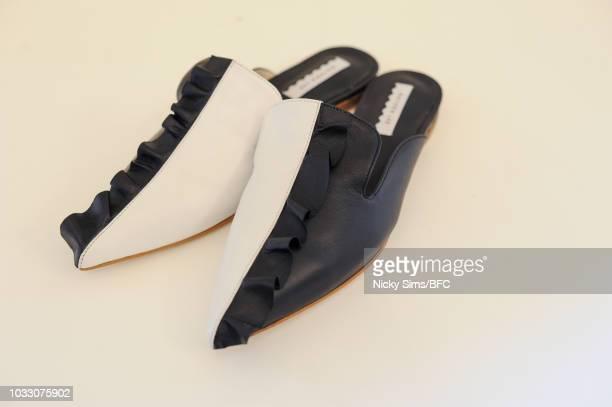 Shoe detail at the Gayeon Lee presentation during London Fashion Week September 2018 on September 14 2018 in London England