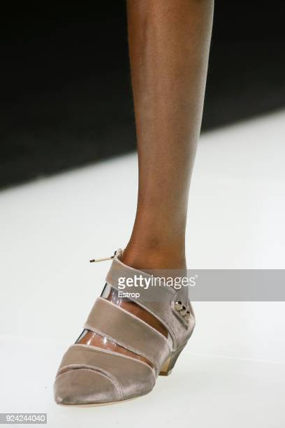 Shoe detail at the Giorgio Armani show during Milan Fashion Week Fall/Winter 2018/19 on February 24 2018 in Milan Italy