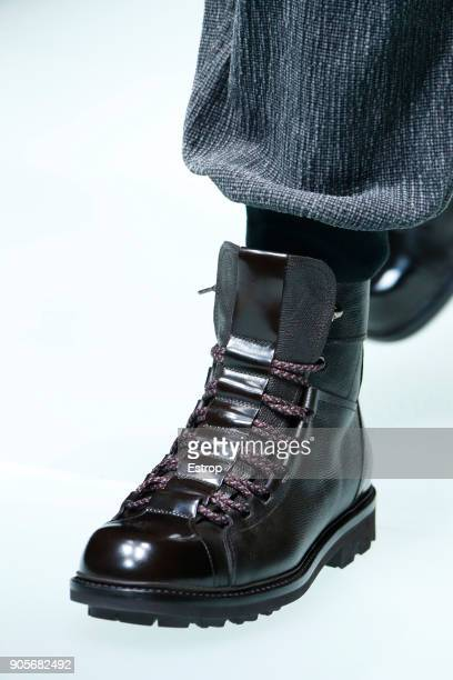 Shoe detail at the Giorgio Armani show during Milan Men's Fashion Week Fall/Winter 2018/19 on January 15 2018 in Milan Italy