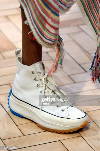 Shoe detail at the JW Anderson show during London Fashion Week September 2018 at XXXX on September 15 2018 in London England