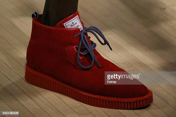 Shoe detail at the Maison Mihara Yasuhiro show during The London Collections Men SS17 on June 13 2016 in London England