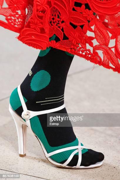 Shoe Detail at the Miu Miu Paris show as part of the Paris Fashion Week Womenswear Spring/Summer 2018 on October 3 2017 in Paris France
