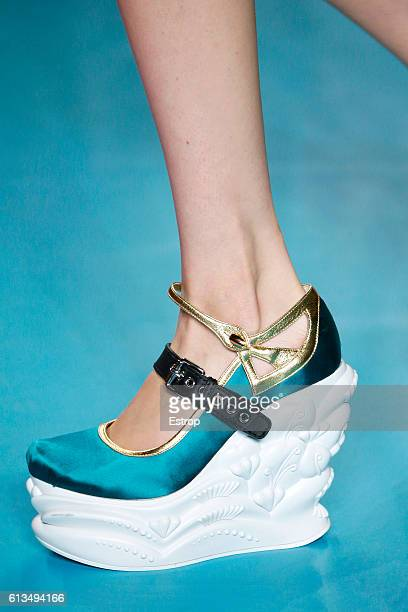 Shoe detail at the Miu Miu show as part of the Paris Fashion Week Womenswear Spring/Summer 2017 on October 5 2016 in Paris France